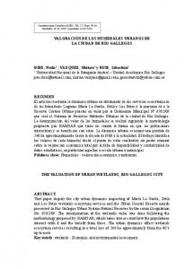 THE VALUATION OF URBAN WETLANDS, RIO GALLEGOS CITY