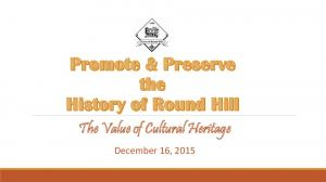 The Value of Cultural Heritage. December 16, 2015