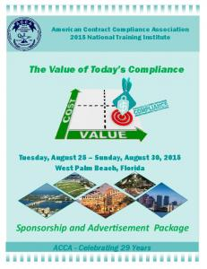 The Value of Today s Compliance