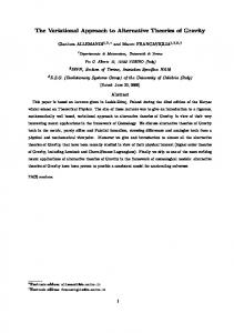 The Variational Approach to Alternative Theories of Gravity