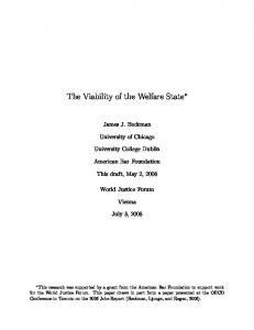 The Viability of the Welfare State