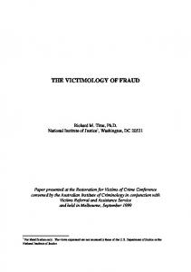 THE VICTIMOLOGY OF FRAUD