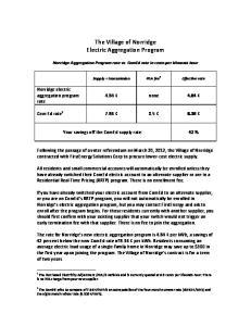 The Village of Norridge Electric Aggregation Program
