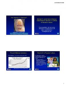 The Vitamin D Dilemma! Michael A. Levine has no financial relationships to disclose or Conflicts of Interest to resolve