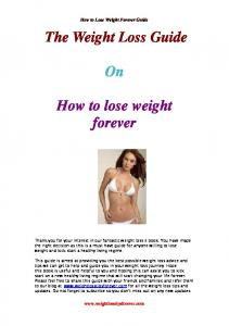 The Weight Loss Guide. How to lose weight forever