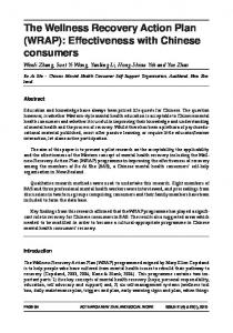 The Wellness Recovery Action Plan (WRAP): Effectiveness with Chinese consumers