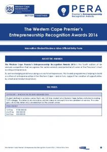 The Western Cape Premier s Entrepreneurship Recognition Awards 2016
