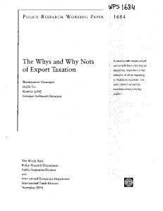 The Whys and Why Nots of Export Taxation