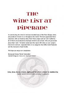 The Wine List at Piperade