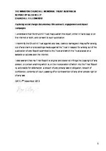 THE WINSTON CHURCHILL MEMORIAL TRUST AUSTRALIA REPORT BY ALEX KELLY CHURCHILL FELLOW 2012