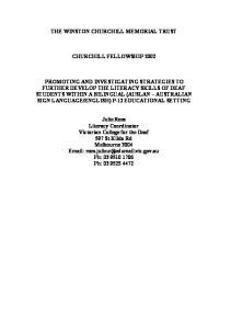 THE WINSTON CHURCHILL MEMORIAL TRUST CHURCHILL FELLOWSHIP 2002