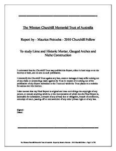 The Winston Churchill Memorial Trust of Australia. Report by - Maurice Potrzeba Churchill Fellow