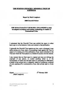 THE WINSTON CHURCHILL MEMORIAL TRUST OF AUSTRALIA. Report by Mark Langhorn Churchill Fellow