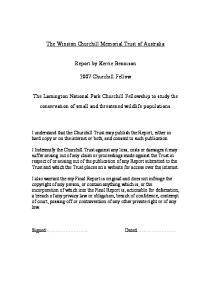 The Winston Churchill Memorial Trust of Australia. Report by Kerrie Bennison Churchill Fellow