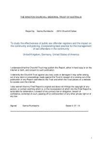 THE WINSTON CHURCHILL MEMORIAL TRUST OF AUSTRALIA. Report by Sarma Rumbachs Churchill Fellow