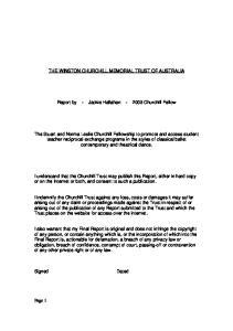 THE WINSTON CHURCHILL MEMORIAL TRUST OF AUSTRALIA. Report by - Jackie Hallahan Churchill Fellow