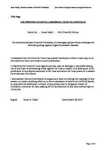 THE WINSTON CHURCHILL MEMORIAL TRUST OF AUSTRALIA. Report by - Stuart Ralph Churchill Fellow