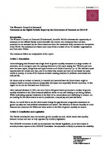 The Women s Council in Denmark Comments on the Eighth Periodic Report by the Government of Denmark on CEDAW