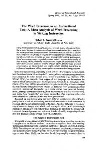The Word Processor as an Instructional Tool: A Meta-Analysis of Word Processing in Writing Instruction