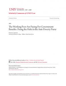 The Working Poor Are Paying For Government Benefits: Fixing the Hole in the Anti-Poverty Purse