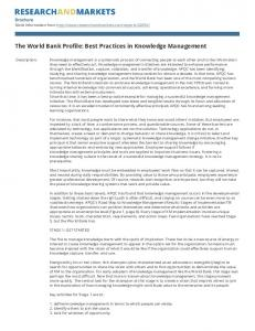 The World Bank Profile: Best Practices in Knowledge Management