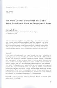 The World Council of Churches as a Global Actor: Ecumenical Space as Geographical Space