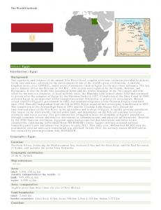 The World Factbook. Africa :: Egypt Introduction :: Egypt