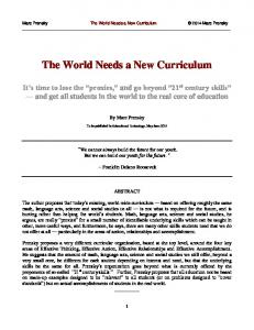 The World Needs a New Curriculum