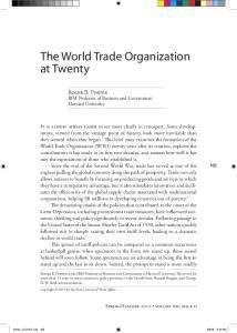 The World Trade Organization at Twenty
