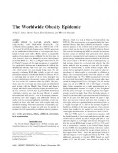 The Worldwide Obesity Epidemic