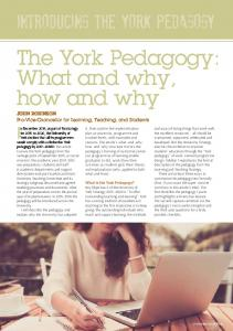 The York Pedagogy: What and why, how and why