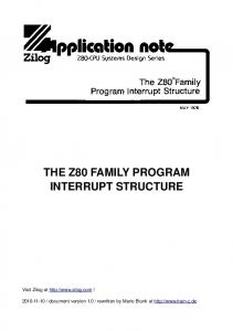 THE Z80 FAMILY PROGRAM INTERRUPT STRUCTURE