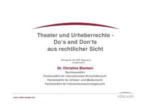 Theater und Urheberrechte - Do s and Don ts aus rechtlicher Sicht