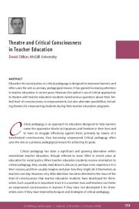 Theatre and Critical Consciousness in Teacher Education