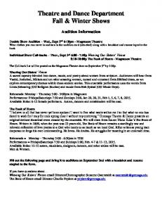 Theatre and Dance Department Fall & Winter Shows