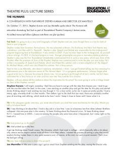 THEATRE PLUS: LECTURE SERIES