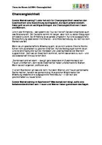 Thema des Monats Juli 2004: Chancengleichheit. Chancengleichheit