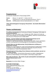 Thema: Rheumatologische Versorgung in Deutschland das aktuelle Memorandum der DGRh