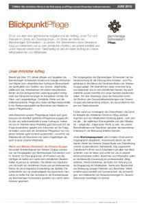 THEMA: Wie christliche Werte in der Betreuung und Pflege unserer Bewohner wirksam werden juni 2012