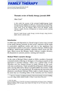 Thematic review of family therapy journals 2009