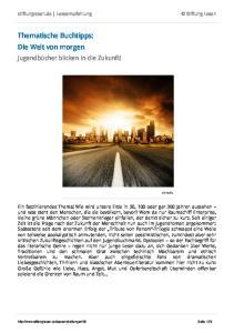 Thematische Buchtipps: Die Welt von morgen