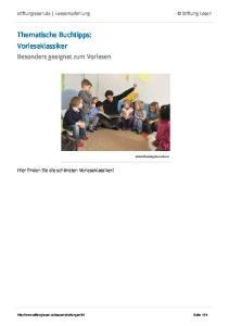 Thematische Buchtipps: Vorleseklassiker