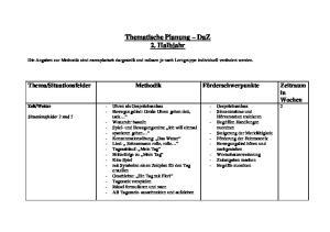 Thematische Planung DaZ 2. Halbjahr