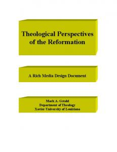 Theological Perspectives of the Reformation
