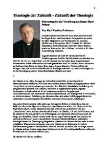 Theologie der Zukunft - Zukunft der Theologie