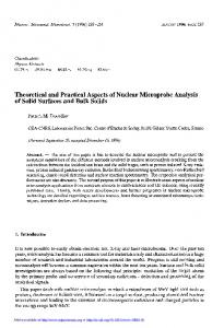 Theoretical and Practical Aspects of Nuclear Microprobe Analysis of Solid Surfaces and Bulk Solids