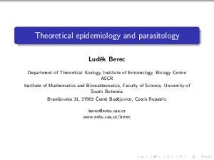 Theoretical epidemiology and parasitology