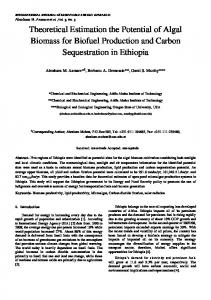 Theoretical Estimation the Potential of Algal Biomass for Biofuel Production and Carbon Sequestration in Ethiopia