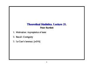 Theoretical Statistics. Lecture 21
