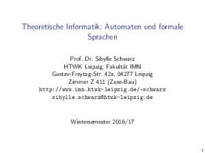Theoretische Informatik: Automaten und formale Sprachen